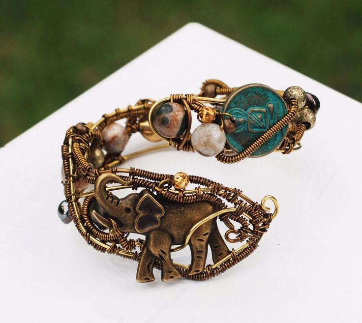 Buddha Elephant Ocean Jasper Good Karma Bracelet Wire Wrap Small Wrist Bracelet #jeanninehandmade #Wrap