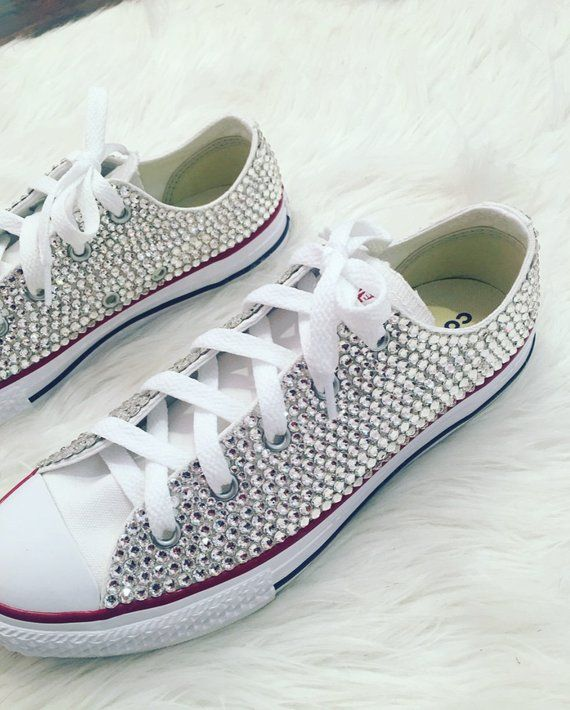 cc2028fc098a Swarovski Crystal Bling Converse! Infant Toddler Girls Women s in ...
