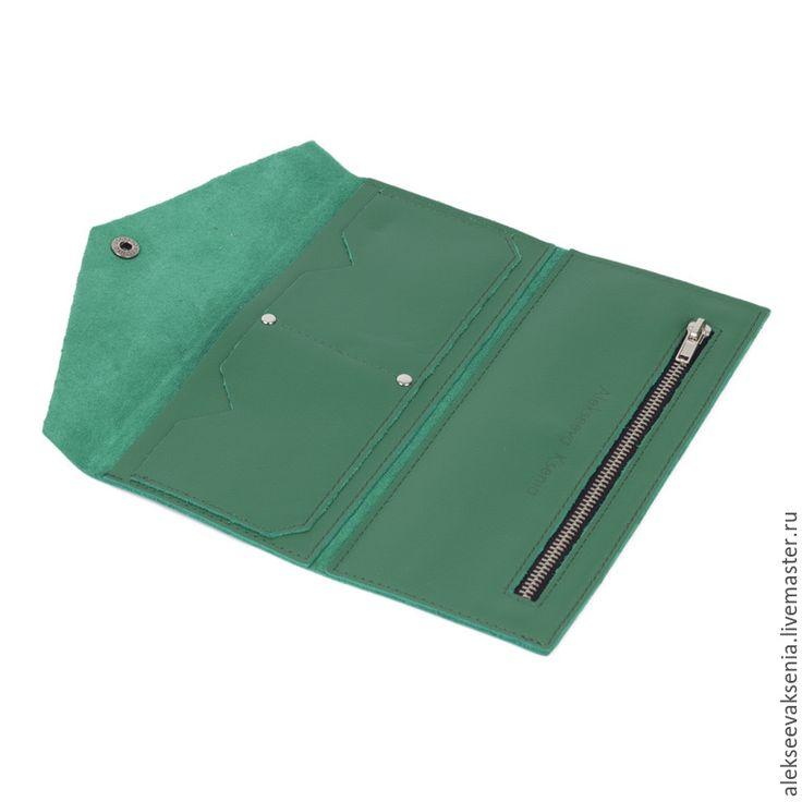 """Купить Кошелек из натуральной кожи """"Яблоко"""" - зеленый, кошелек, кошелек из кожи, кошелек женский"""