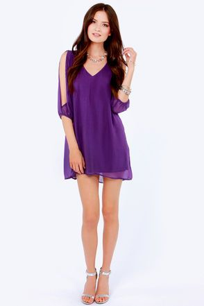 LULUS Exclusive Shifting Dears Purple Long Sleeve Dress