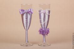 """Купить Свадебные бокалы """"Аметист"""" - бледно-сиреневый, бокалы для свадьбы, бокалы для молодоженов, бокалы для шампанского"""