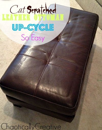 Don't toss out your scratched up leather ottoman. Recover it with this simple DIY ottoman recover tutorial