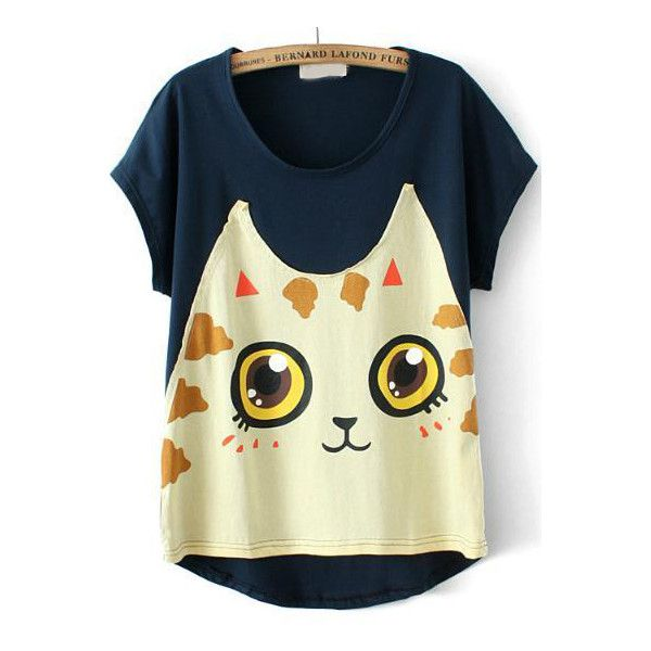 SheIn(sheinside) Navy Short Sleeve Cat Print T-Shirt ($14) ❤ liked on Polyvore