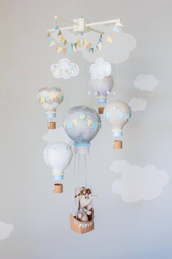 Hot Air Balloon Baby Mobile Elephant Boy Nursery Travel Theme
