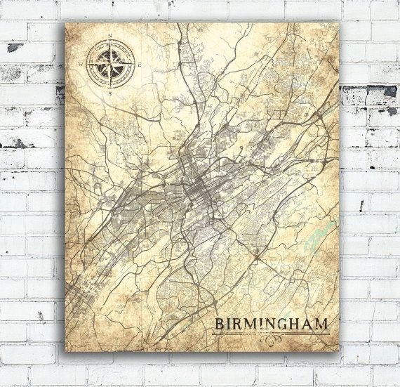 Birmingham Alabama Vintage map Birmingham City Vintage map Birmingham Art Print poster USA Vintage retro antique map United States America