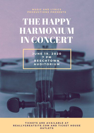 white and yellow violin music invitation poster concert posters