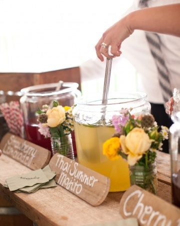Love these self-serve signature cocktails - change the cocktails and decor depending on the time of year - love!