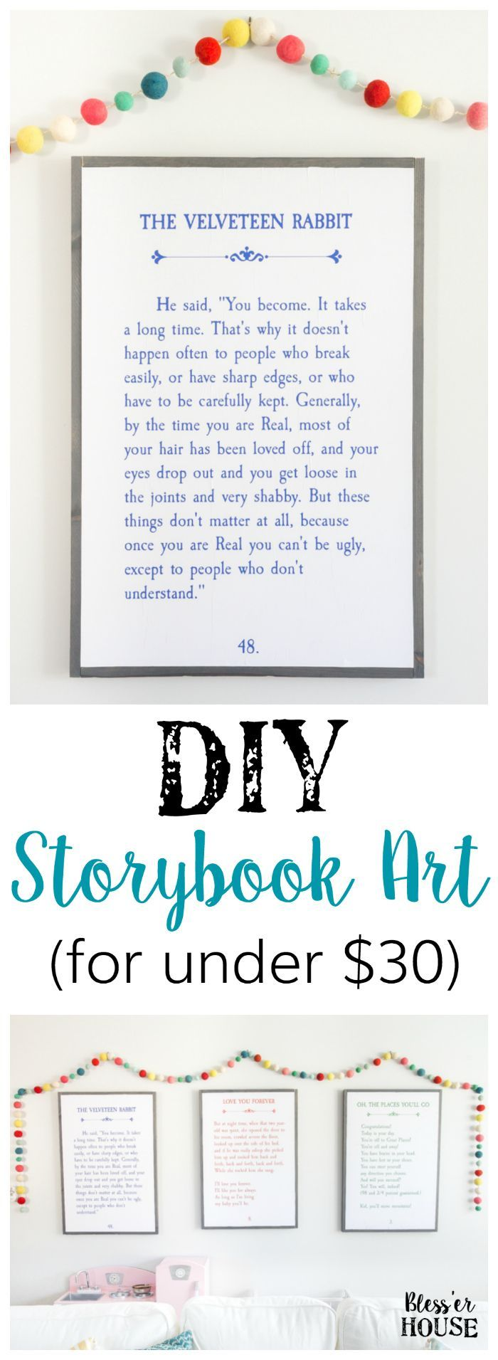DIY Storybook Art   http://blesserhouse.com - How to make DIY storybook art for less than $30 using just plywood, 1x2 boards, and colored engineer prints plus 3 free printables.