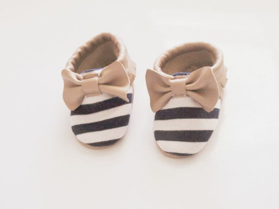 Baby Moccasins Navy Stripe & Champagne by Blueberriesforcall, $25.00