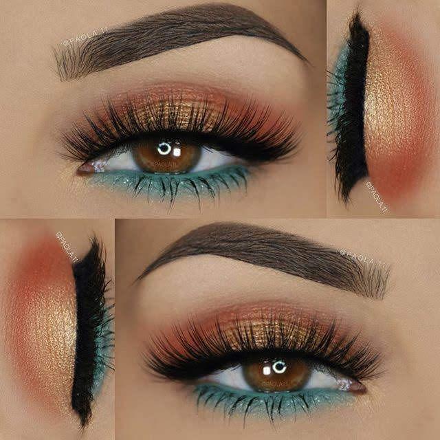 Maquillage Pour Les Yeux Marron Clair Turquoise Brique Et Orange