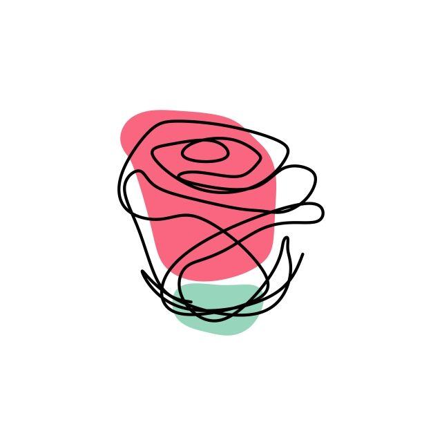 Rose Flower One Line Art Single Drawing Vector Illustration