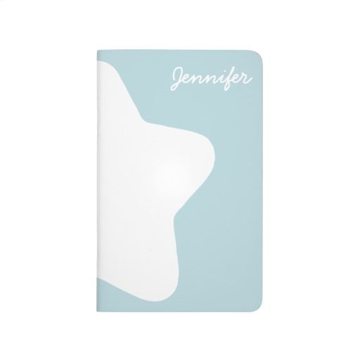 Cute Baby Blue Star Pastel -Colored Customizable Pocket Journal
