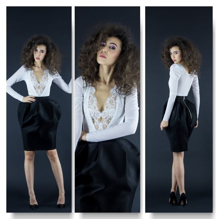 White mesh body with long sleeves Price: 250 RON White lace bustier Price: 250 RON Black neoprene tulip skirt  Price: 350 RON