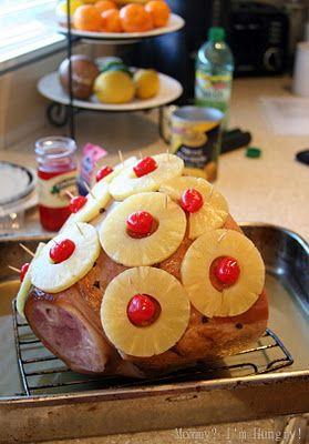 easter dinner? baked pineapple glazed ham I always bake my ham like this. It's wonderful