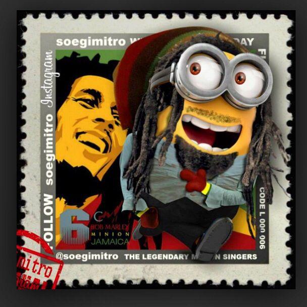 #Bob Marley the best of the best, Jamaican reggae singer. Minion just like Bob. Bob sing, One love. ❤️