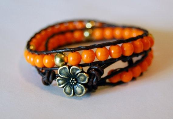 Beaded Leather Bracelet  Vivid / Neon Orange and by beadsandbrass, $35.00: Neon Orange, Beaded Leather, Leather Bracelets, Bracelet Vivid