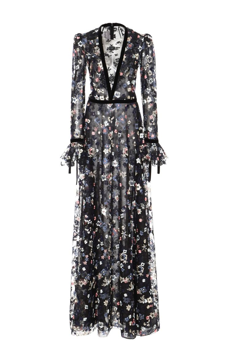 Floral Embroidered Long Sleeve Gown by Monique Lhuillier