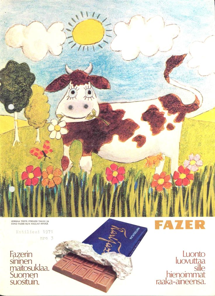 Karl Fazer ad from the 1970´s #milkchocolate #sanokaafazerkunhaluattehyvää