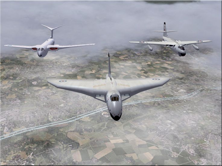 Vulcan, Victor, Valiant. V force Bombers in vic formation