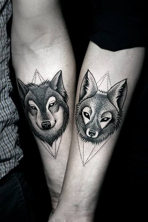 Couples Wolf Tattoos by Kamil Czapiga