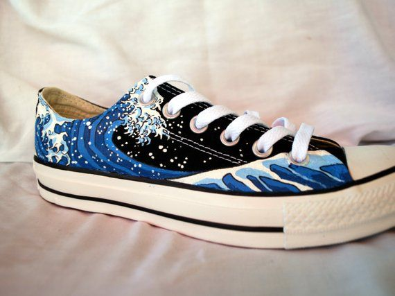 Hand Painted Converse Shoes The Great Wave Off Kanagawa