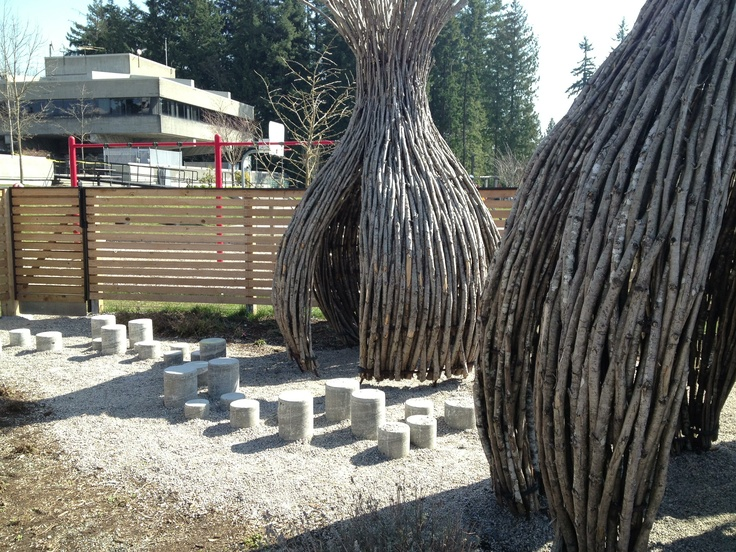 Play huts at Simon Fraser University's UniverCity Childcare Centre