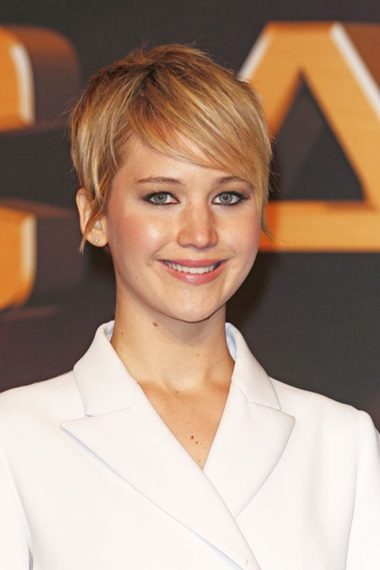 : For the German premiere, Jennifer Lawrence opted for a polished pixie with sideswept bangs and well-defined eyes.