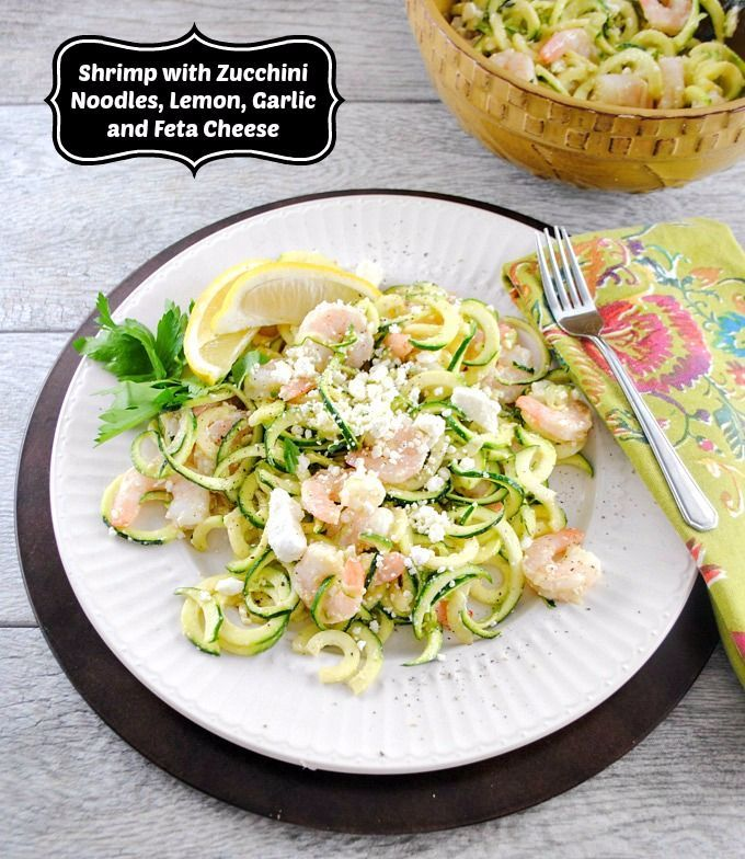 ... Shrimp Salad with Zucchini Noodles, Lemon, Garlic, and Feta Cheese