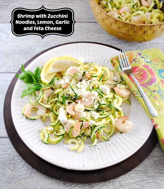 ... Shrimp Salad with Zucchini Noodles, Lemon, Garlic, and Feta Cheese