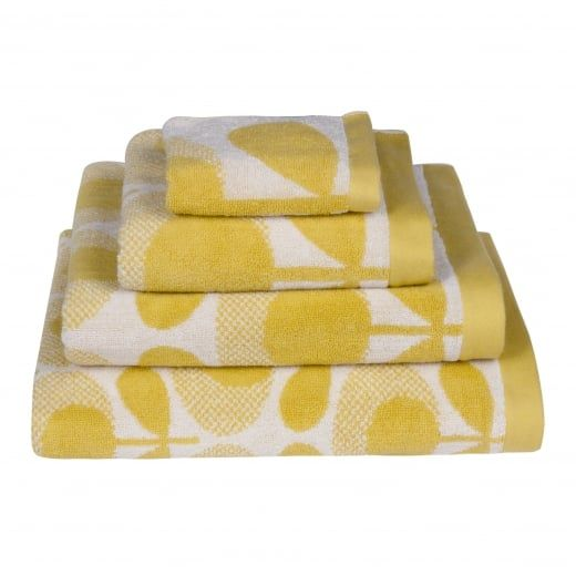 Orla Kiely Speckled Flower Oval Light Yellow Towels