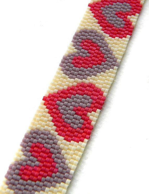 Peyote pattern Hearts peyote cuff two-drop por Anabel27shop