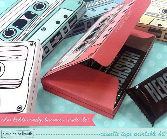 cassette tapes – gift card holders, party favor boxes, paper toy printable PDF kit – INSTANT downlo