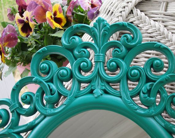 teal scroll mirror | Vintage Teal Wall Mirror Ornate Oval Upcycled Cottage French Farmhouse