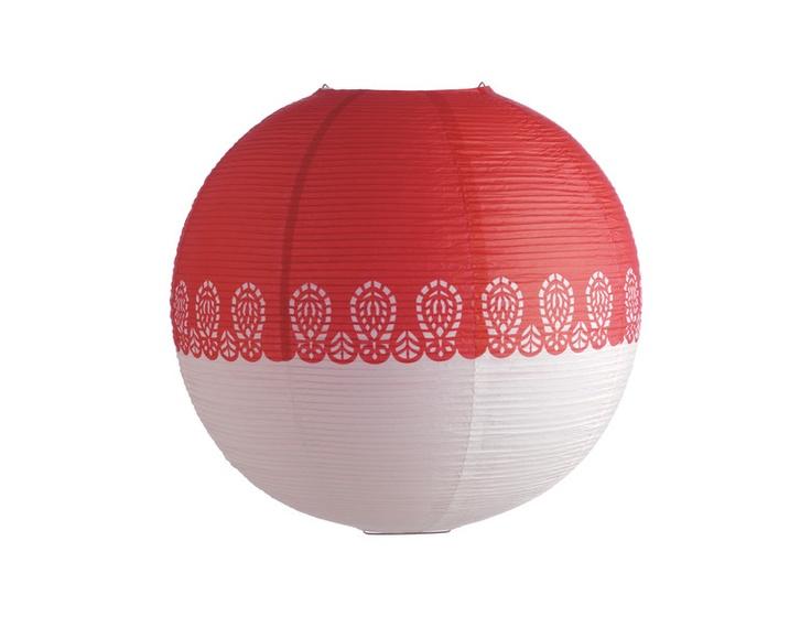 Shiro papirskjerm i rødt og hvitt. Pendel selges separat. -50% Før kr. 155,- Nå kr. 78,-