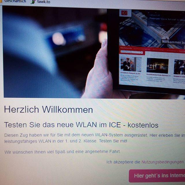#Neuigkeit : #deutschebahn #test für mehr #kundenservice #wlan im #ice #kostenlos . #Verbindung im #zug von #Köln nach #Frankfurt ist bislang #stabil mit #ssid #wifionice von #icomera anstatt bislang mit #hotspot von der #telekom