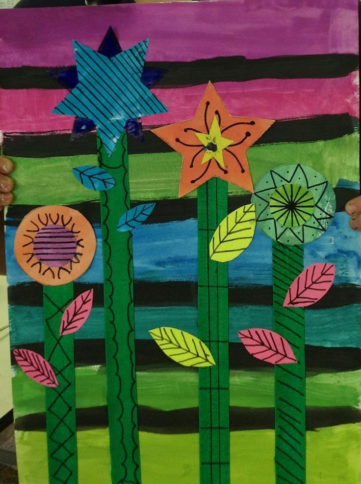 Year 5 Marimekko inspired flowers