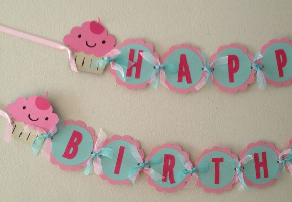 Cupcake Birthday Banner Girl Birthday Banner READY by wittypaper