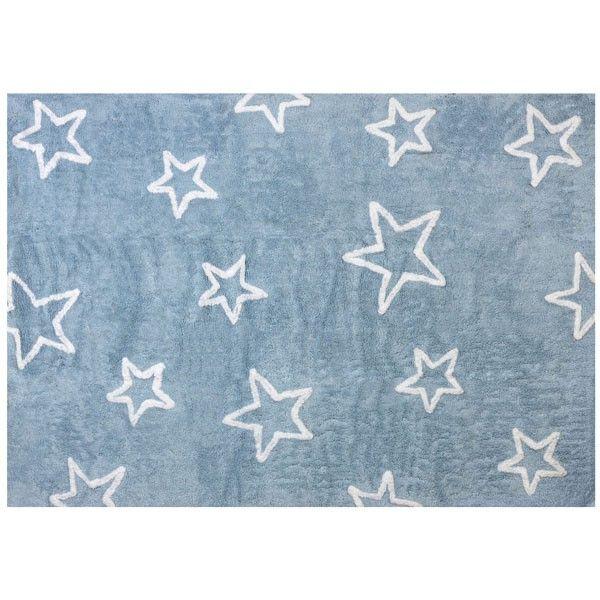Good Teppich waschbar hellblau mit Sternen xcm