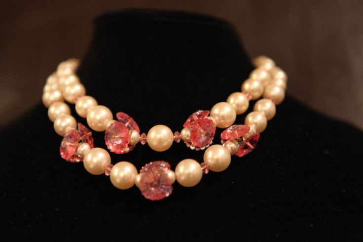 Lucite Pearls w/ Pink Pillow Case Disk Crystals Choker by GenusJewels on Etsy
