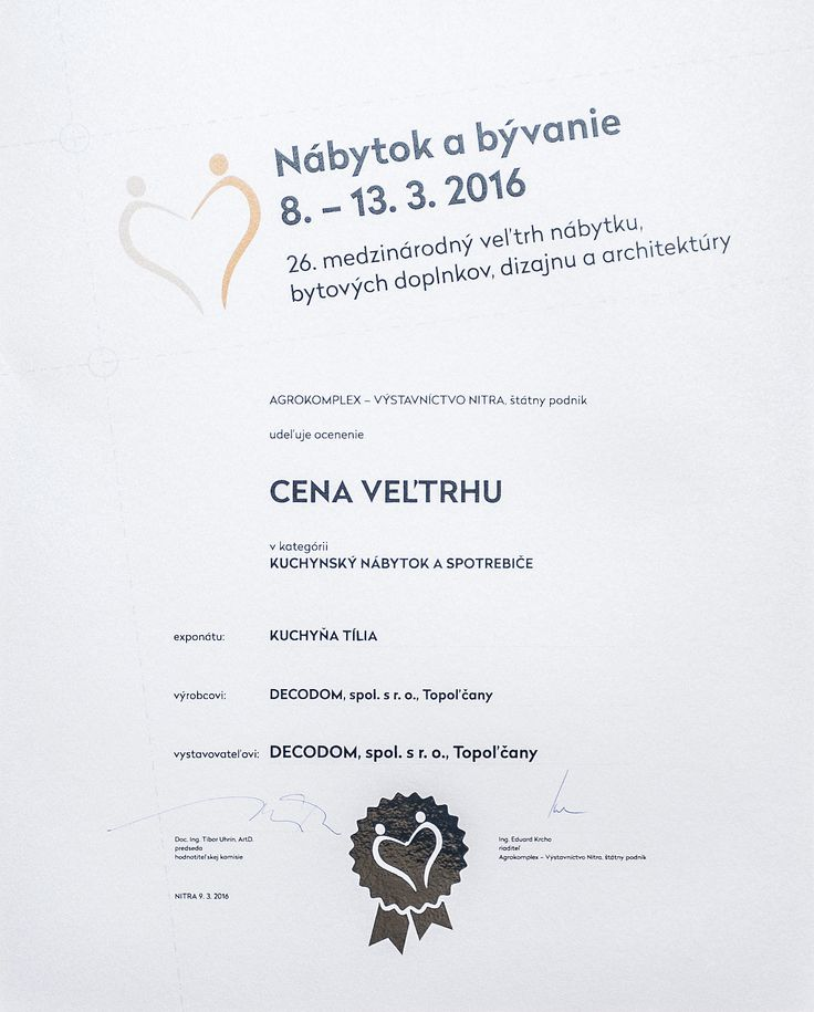 1.Cena VEĽTRHU - Nábytok a bývanie Nitra 2016