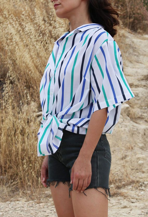 White striped shortsleeve button down unisex shirt.over size