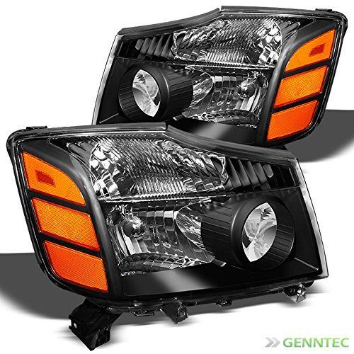 For 2004-2015 Titan, 2004-2007 Armada Black Replacement Headlights Front Lamps L R Pair L R/2005 2006 2007 2008 2009