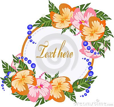 Colorful tropical flowers design around circular shape with copy space.