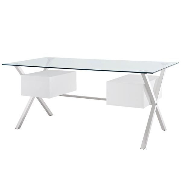 Buy Modway Furniture Modern Writing Abeyance Glass Top Office Desk Online Free Shipping Office Desk White Desk Office Glass Office Desk Modern