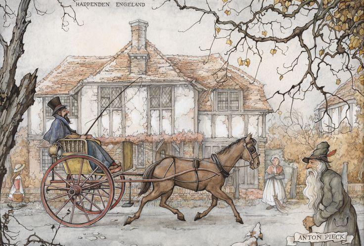 Ook in vroeger tijden ging men voor hun plezier een stukje rijden. Een huisvrouw is haar stoepje in Harpenden aan het vegen. Terwijl ze uitrust kijkt ze naar de passerende koets.