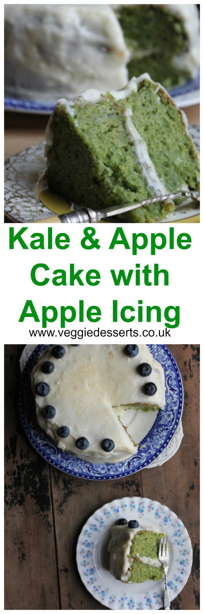 Kale and Apple Cake with Apple Icing | Veggie Desserts Blog by Kate Hackworthy  Vegetable cake? Kale cake? Yes! Trust, me, you can't even taste the kale, but it gives this cake such a bright green colour and leaves some goodness behind.