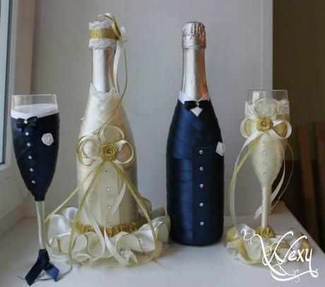 Svadobná sada - šampanské a poháre,