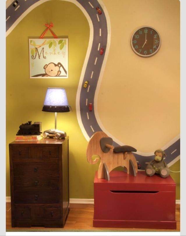Magnetic Paint helps you create a totally unique Racetrack for kids' toy cars!  Click here to see other awesome ideas for Magnetic Paint!