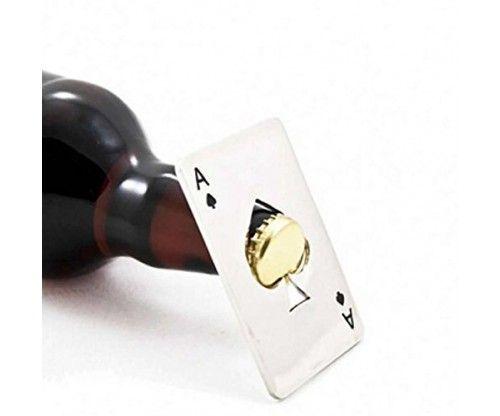 Sörnyitós acél kártya, kártyalap - ÁSZ - remek ajándék azoknak, akik szeretik a kártyajátékokat és a sört!