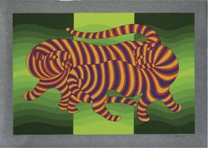 Two Tigers (green) - (Victor Vasarely)
